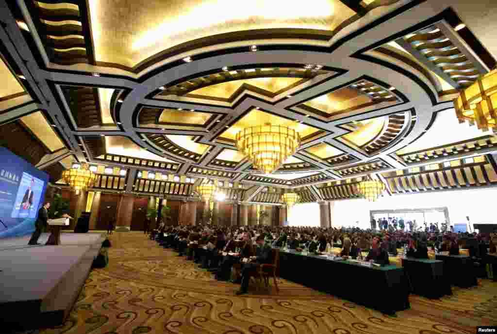 2018年11月1日,在北京钓鱼台国宾馆的大厅举行的改革开放与扶贫国际论坛会议。