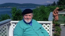 Burl Ives in 1993 outside his home in Anacortes, Washington state, looking out on the San Juan Islands