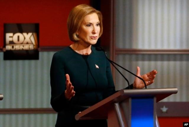 Carly Fiorina speaks during Republican presidential debate at Milwaukee Theatre, Nov. 10, 2015, in Milwaukee.