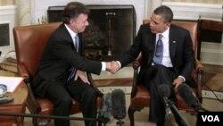 El presidente Santos y Obama se reunieron semanas antes de la aprobación del Congreso.