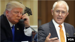 Combination photo of U.S. President DonaldTrump, left, and Australian Prime Minister Malcolm Turnbull