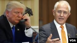 ປະທານາທິບໍດີ ສະຫະລັດ ທ່ານ DonaldTrump (ຊ້າຍ) ແລະ ນາຍົກລັດຖະມົນຕີອອສເຕຣເລຍ ທ່ານ Malcolm Turnbull.