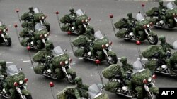 Taiwan's military police perform during the National Day in front of the Presidential Office in Taipei on Oct. 10, 2020.