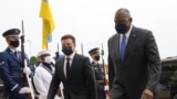 Ukraine President Volodymyr Zelenskiy is welcomed at the Pentagon in Arlington, Virginia