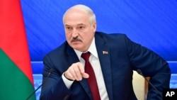 알렉산드르 루카셴코 벨라루스 대통령이 9일 민스크에서 연례 기자회견을 했다.