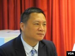 六四学运领袖王丹2019年5月20号出席台湾民主基金会举行的座谈会 (美国之音张永泰拍摄)