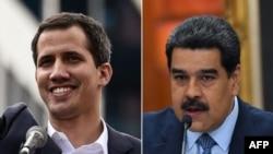 2 lidè nan Venezuela: Nicolàs Maduro (adwat), Prezidan konteste; epi Juan Guaidò, Prezidan Asanble Nasyonal la ki pwoklame tèt li Prezidan.