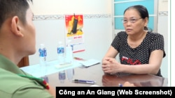 Bà Nguyễn Thị Kim Phương tại cơ quan điều tra Công an An Giang.