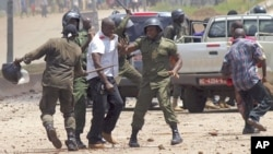 Violence has plagued previous opposition protests, like at this one in Conakry, Guinea, Sept. 27, 2011.