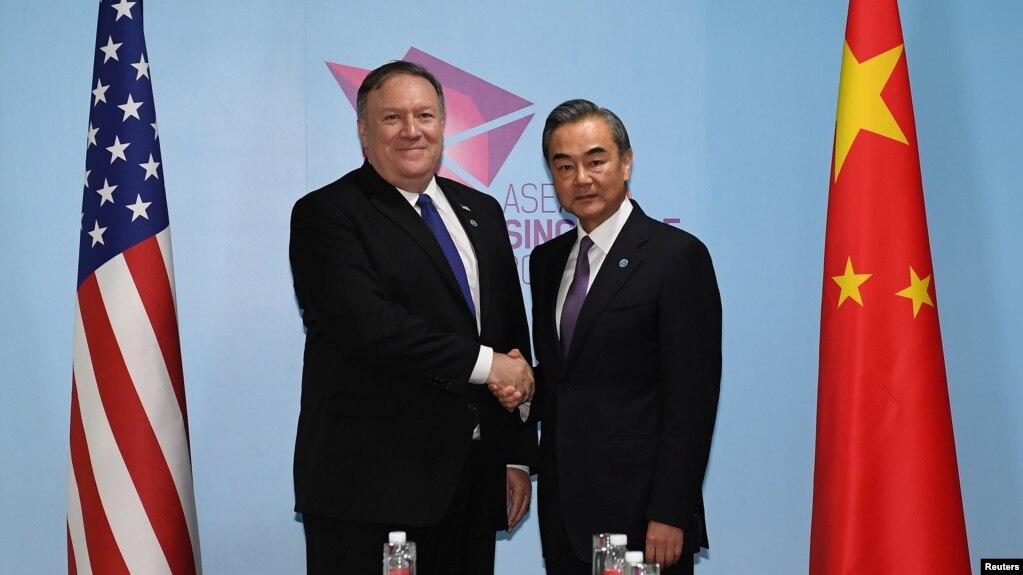 Bộ trưởng Ngoại giao Trung Quốc Vương Nghị trong cuộc gặp song phương với Ngoại trưởng Mỹ Mike Pompeo ở Singapore hôm 3/8.