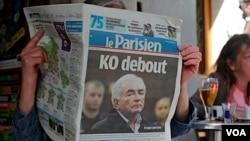 Salah satu berita di media Perancis, Le Parisien, tentang skandal yang melibatkan Dominique Strauss-Kahn.