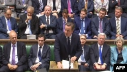 This video grab taken from footage broadcast by the U.K. Parliamentary Recording Unit (PRU), shows British Prime Minister David Cameron giving a statement in Parliament in London on June 27, 2016 following the EU referendum.