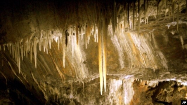 Stalactites in the commercial caves at Glenwood Caverns in Colorado