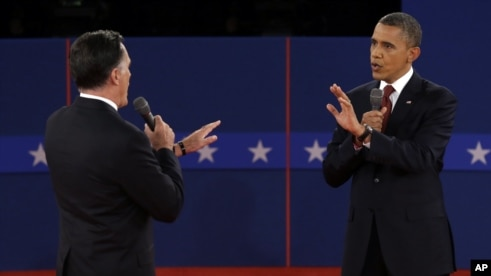 Republican presidential nominee Mitt Romney and President Barack Obama spar over energy policy during the second presidential debate at Hofstra University, October 16, 2012.