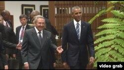 美国总统奥巴马会见古巴主席劳尔·卡斯特罗(2016年3月21日)