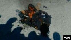 次仁拼措1月18日下午3点15分在四川省的阿坝自治州自焚身亡(美国之音藏语组提供)
