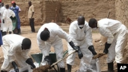 Local health workers remove earth contaminated by lead from a family compound in the village of Dareta in Gusau, Nigeria, Jun. 10, 2010.