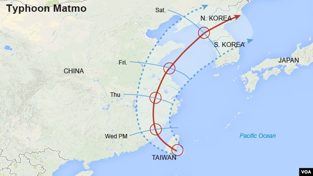 Project Path of Typhoon Matmo