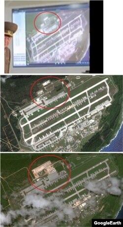 첫 번째 사진은 조선중앙TV에 등장한 앤더슨 공군기지 위성사진. 그 아래로 각각 2011년과 2017년 촬영된 구글 어스 이미지. 원안을 비교해 보면 조선중앙TV의 사진은 2011년의 건물과 도로, 녹지 모양과 동일하다.