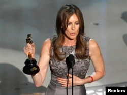 "FILE - Kathryn Bigelow, director of ""The Hurt Locker,"" speaks after winning best director during the 82nd Academy Awards in Hollywood, March 7, 2010."