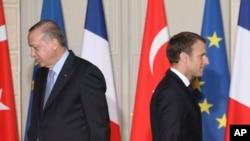 Serokê Tirkiyê Recep Tayyip Erdogan û Serokê Fransa Emmanuel Macron.