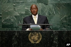 FILE - Uganda's President Yoweri Kaguta Museveni speaks during the 70th session of the United Nations General Assembly at U.N. headquarters, Sept. 28, 2015.