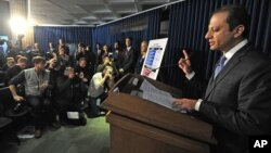 U.S. Attorney Preet Bharara speaks at a press conference concerning a case in which federal prosecutors say hedge fund giant SAC Capital Advisors has agreed to plead guilty to fraud charges and to pay a $1.8 billion financial penalty, in New York, Nov. 4,