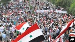 하마에 집결한 대규모 반정부 시위대