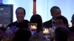 اوباما در ضیافت رسمی شام در کاخ سفید میزبان فرانسوا اولاند بود