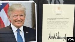"""美国总统特朗普2018年5月18日对""""第18届华府龙舟赛""""发表的贺词 (美国之音锺辰芳拍摄)"""