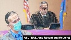 Sketsa gambar mantan Derek Chauvin (kiri) mendengarkan hakim pengadilan Peter Cahill dalam salah satu sidang pembunuhan George Floyd di Minneapolis, Minnesota (19/4).