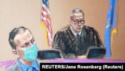 ARHIVA - Sudska skica tokom procesa protiv Dereka Šovina za ubistvo Džordža Flojda (Foto: Reuters/Jane Rosenberg)
