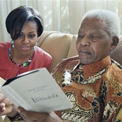 The first lady with former South African president Nelson Mandela at this home in Houghton