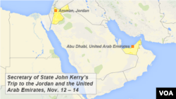 Secretary of State John Kerry's Trip to the Jordan and the United Arab Emirates, Nov. 12-14.