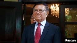 In this photo taken on Nov. 11, 2019, leader of the Cambodia National Rescue Party (CNRP) Kem Sokha attends a meeting with the U.S. Ambassador to Cambodia Patrick Murphy at his home in Phnom Penh, Cambodia.