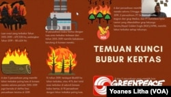 Rusmadya Maharuddin, Ketua Tim Kampanye Hutan Greenpeace Indonesia memaparkan luas areal terbakar tahun 2015-2019 di konsesi perusahaan bubur kertas. (Foto: VOA/Yoanes Litha)
