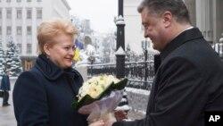 Ukrainian President Petro Poroshenko, right, greets Lithuania's President Dalia Grybauskaite in Kyiv, Nov. 24, 2014.