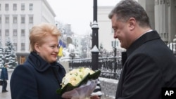 Даля Грибаускайте и Петр Порошенко. Киев, Украина. 24 ноября 2014 г.