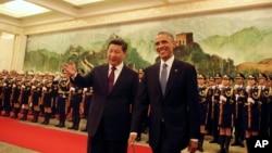 中国国家主席习近平2014年11月12日与举行仪式迎接美国总统奥巴马到访北京