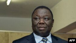 Zimbabwe's Prime Minister Morgan Tsvangirai gives a press conference in Harare to announce the reshuffling of ministers belonging to The Movement for Democratic Change (MDC) party, 23 Jun 2010