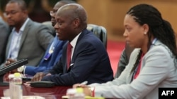 Le président de la Guinée-Bissau, Jose Mario Vaz (2ème à droite), au Forum sur la coopération Chine-Afrique, au Grand Palais du Peuple à Beijing le 5 septembre 2018.