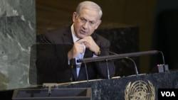 PM Israel Benjamin Netanyahu saat berpidato di depan Majelis Umum PBB di New York (23/9). Israel menentang upaya Palestina di PBB.
