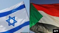 Une combinaison de photos montre un drapeau israélien, à gauche, lors d'un rassemblement à Tel-Aviv, le 19 septembre 2020, et un drapeau soudanais lors d'un rassemblement à l'est de la capitale Khartoum, le 3 juin 2020.