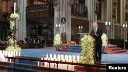 German President Joachim Gauck speaks during a memorial service for the 150 victims of Germanwings flight 4U 9525 in Cologne's Cathedral, April 17, 2015.