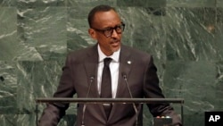 FILE - Paul Kagame, President of Rwanda, speaks during the United Nations General Assembly at U.N. headquarters, Sept. 20, 2017.