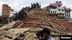 加德滿都強震造成建築倒塌