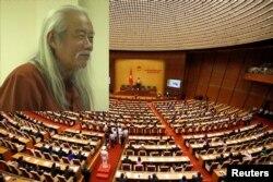 GS.TS. Nguyễn Đình Cống tại một buổi thuyết trình năm 2013 và một kỳ họp của Quốc hội Việt Nam khóa XIV. Photo Dang Duy Linh via YouTube.