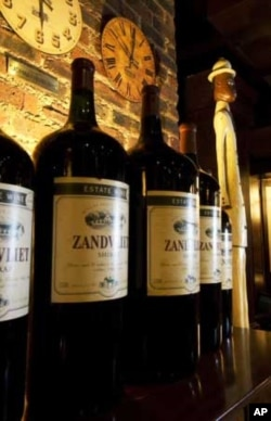 South African wine on display at a restaurant in Johannesburg