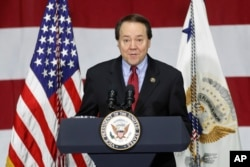 FILE - Rep. Pat Tiberi, R-Ohio, speaks at DynaLab Inc. in Reynoldsburg, Ohio, April 1, 2017.