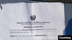 Carta de soltura de jornalistas moçambicanos